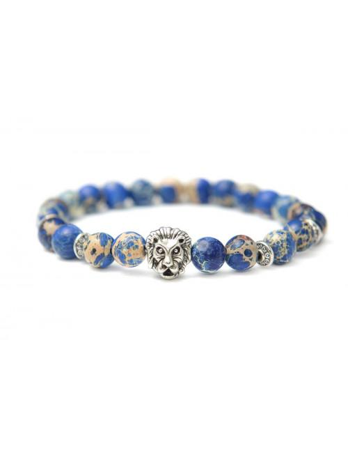 Náramek s lvem - modrý jaspis