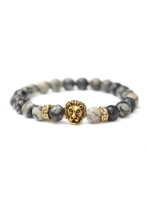 Náramek s lvem - černý jaspis