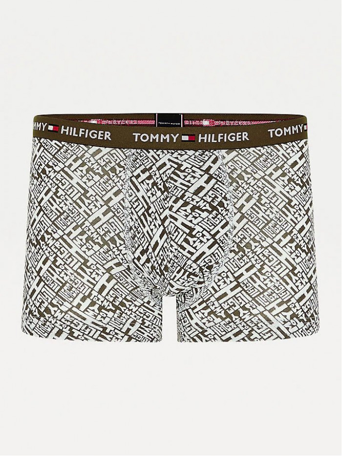 Pánské Boxerky Tommy Hilfiger All-Over Print Organic Cotton Trunks zelené