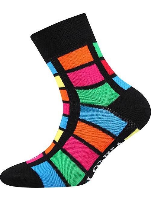 Dětské ponožky Lonka Color Rectangles Black
