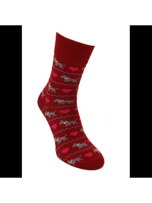 Ponožky Zamilované Psíčky Foxysoxy Červená