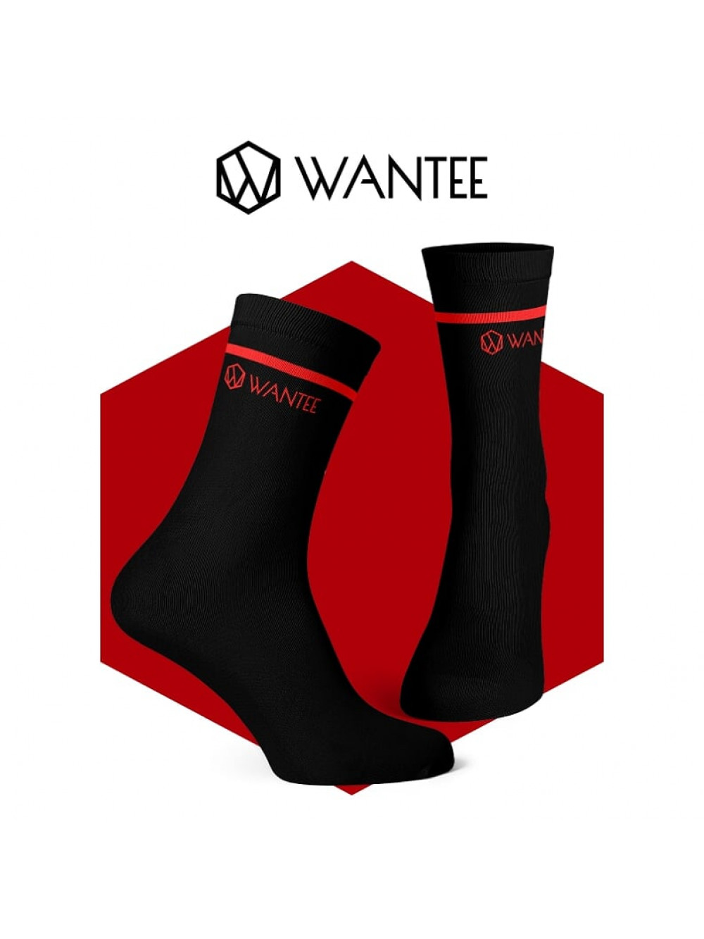 Ponožky Basic Black and Red Wantee